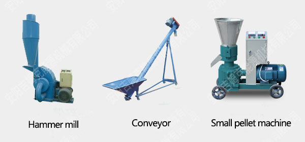 Hammer mill, conveyor and small pellet machine