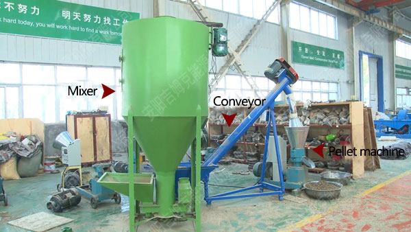 mixer, conveyor and small pellet machine